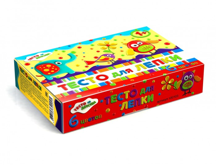 Тесто из детства Набор для детского творчества Тесто для лепки 6 цветов