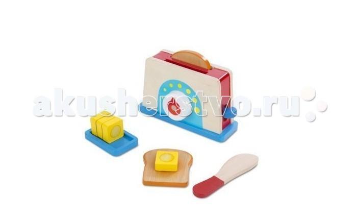 Деревянная игрушка Melissa &amp; Doug Давай поиграем Набор с тостеромДавай поиграем Набор с тостеромДеревянная игрушка Melissa & Doug Давай поиграем Набор с тостером предназначен для детей от 3 лет и старше и идеально подойдет для сюжетно-ролевых игр.   Набор для кухни включает в себя тостер, 2 кусочка хлеба, масло на блюде, нож.  Все игрушки Melissa & Doug выполнены из высококачественных, нетоксичных материалов.<br>