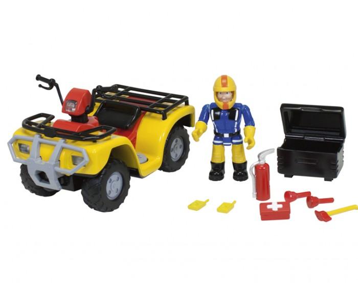 Simba Пожарный Сэм Фгурка+квадроциклПожарный Сэм Фгурка+квадроциклSimba Пожарный Сэм Фгурка+квадроцикл обладает ярким прожектором по середине, который включается по кнопке.  Особенности: Позади фигурки Сэма располагается ящик с самыми необходимыми инструментами.  В набор входит фигурка пожарного Сэма. Требуются батарейки 2x 1,5V LR6 (АА) входят в комплект<br>