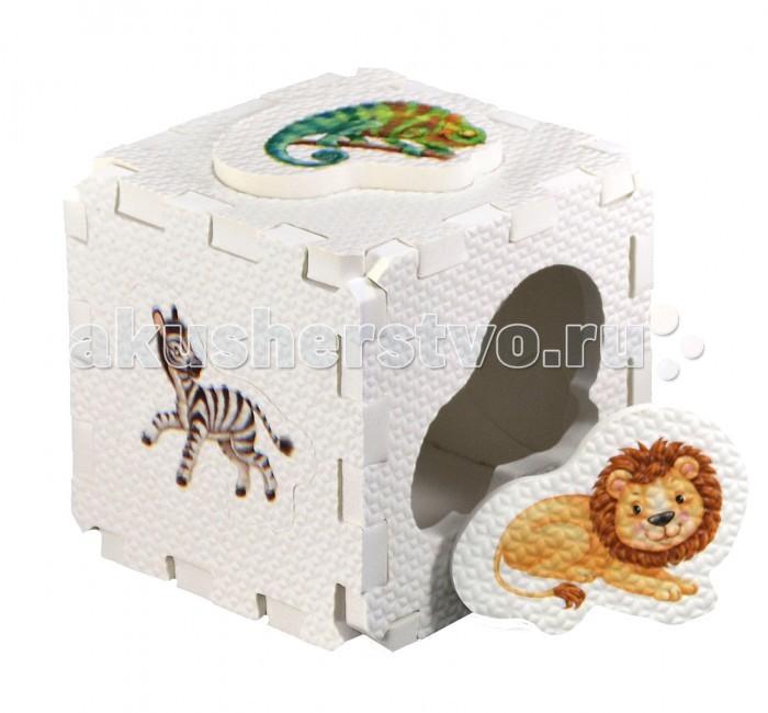Робинс Кубик EVA-сортер Дикие животныеКубик EVA-сортер Дикие животныеНабор состоит из 6 больших деталей-пазлов, которые можно собрать в объёмный кубик. Собирая кубик и играя с этими деталями-пазлами, малыши тренируют мелкую моторику, развивают мышление, память, внимание, а также получают навыки творческого конструирования.  Детали-пазлы сделаны из экологически чистого и гипоаллергенного материала ЭВА (EVA), который не имеет цвета, запаха и вкуса, а значит, идеально подходит для первых развивающих игрушек и игр для самых маленьких детей.  В чём его особенности: • детали-пазлы можно грызть, мять, гнуть, сжимать и мочить, и при этом они не испортятся;  • с набором можно играть в ванной, детали плавают в воде и легко крепятся к кафелю и стенкам ванной;  • уникальная технология печати картинок на пазлах передаёт все оттенки цветов, и дети быстрее учатся узнавать нарисованные на них предметы в окружающем мире;  • набор идеально подходит для развития детской моторики, сенсорики, навыков конструирования;  • детали-пазлы из разных наборов подходят к друг другу, вы легко можете комбинировать разные наборы.<br>