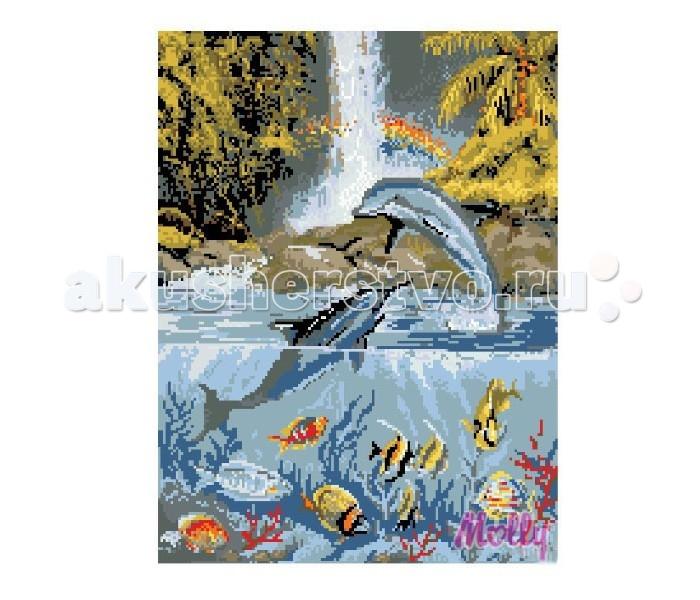 Molly Мозаичная картина Дельфины у водопада 40х50 смМозаичная картина Дельфины у водопада 40х50 смМозаичная картина Molly Дельфины у водопада 40 х 50 см - оригинальный набор, позволяющий создать первую картину, благодаря поэтапной выкладке мозаикой полотна.    В наборе:    Тканевый холст с клеевым слоем и с нанесенной схемой рисунка  Металлический пинцет  Пластиковый контейнер для элементов мозаики  Специальный карандаш  Клей-липучка для карандаша  Комплект разноцветных мозаичных элементов диаметром 2.5 мм  Размер: 40 х 50 см Количество цветов: 19 Уровень сложности: сложный  Мозаичные картины – это: вид творчества и увлекательное времяпровождение, которое позволяет без специальной подготовки любому желающему создать яркую, переливающуюся всеми цветами радуги картину. не что иное, как эскиз будущего рисунка, контур, нанесенный на холст. Рисунок разбит на маркированные сегменты, обозначенные буквой или цифрой. Каждой цифре или букве соответствует определенный цвет мозаики.  Благодаря качественной шлифовке мозаичных элементов любая готовая картина выглядит просто потрясающе. Специальный пинцет в наборе и клеевая основа холста позволяет удобно, без использования дополнительных инструментов распределять мозаичные элементы на холсте.  Картины мозаикой красиво сверкают при любом освещении. Готовая картина, помещенная в раму, - это отличный выбор и красивое интерьерное украшение.<br>