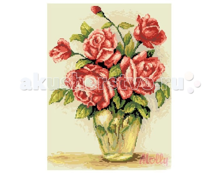 Molly Мозаичная картина Нежные розы 40х50 смМозаичная картина Нежные розы 40х50 смМозаичная картина Molly Нежные розы 40 х 50 см - оригинальный набор, позволяющий создать первую картину, благодаря поэтапной выкладке мозаикой полотна.    В наборе:    Тканевый холст с клеевым слоем и с нанесенной схемой рисунка  Металлический пинцет  Пластиковый контейнер для элементов мозаики  Специальный карандаш  Клей-липучка для карандаша  Комплект разноцветных мозаичных элементов диаметром 2.5 мм  Размер: 40 х 50 см Количество цветов: 20 Уровень сложности: сложный  Мозаичные картины – это: вид творчества и увлекательное времяпровождение, которое позволяет без специальной подготовки любому желающему создать яркую, переливающуюся всеми цветами радуги картину. не что иное, как эскиз будущего рисунка, контур, нанесенный на холст. Рисунок разбит на маркированные сегменты, обозначенные буквой или цифрой. Каждой цифре или букве соответствует определенный цвет мозаики.  Благодаря качественной шлифовке мозаичных элементов любая готовая картина выглядит просто потрясающе. Специальный пинцет в наборе и клеевая основа холста позволяет удобно, без использования дополнительных инструментов распределять мозаичные элементы на холсте.  Картины мозаикой красиво сверкают при любом освещении. Готовая картина, помещенная в раму, - это отличный выбор и красивое интерьерное украшение.<br>