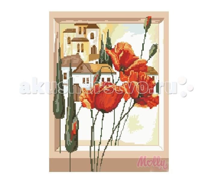 Molly Мозаичная картина Маки в окне 40х50 смМозаичная картина Маки в окне 40х50 смМозаичная картина Molly Маки в окне 40 х 50 см - оригинальный набор, позволяющий создать первую картину, благодаря поэтапной выкладке мозаикой полотна.    В наборе:    Тканевый холст с клеевым слоем и с нанесенной схемой рисунка  Металлический пинцет  Пластиковый контейнер для элементов мозаики  Специальный карандаш  Клей-липучка для карандаша  Комплект разноцветных мозаичных элементов диаметром 2.5 мм  Размер: 40 х 50 см Количество цветов: 26 Уровень сложности: сложный  Мозаичные картины – это: вид творчества и увлекательное времяпровождение, которое позволяет без специальной подготовки любому желающему создать яркую, переливающуюся всеми цветами радуги картину. не что иное, как эскиз будущего рисунка, контур, нанесенный на холст. Рисунок разбит на маркированные сегменты, обозначенные буквой или цифрой. Каждой цифре или букве соответствует определенный цвет мозаики.  Благодаря качественной шлифовке мозаичных элементов любая готовая картина выглядит просто потрясающе. Специальный пинцет в наборе и клеевая основа холста позволяет удобно, без использования дополнительных инструментов распределять мозаичные элементы на холсте.  Картины мозаикой красиво сверкают при любом освещении. Готовая картина, помещенная в раму, - это отличный выбор и красивое интерьерное украшение.<br>
