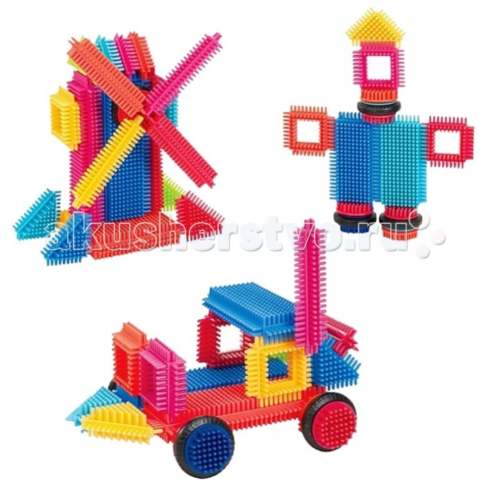Конструктор Bristle Blocks игольчатый в коробке 36 деталейигольчатый в коробке 36 деталейBristle Blocks Конструктор игольчатый в коробке, 36 дет.  Конструктор игольчатый в коробке, 36 деталей- это яркие и разноцветные детали, которые очень легко соединяются и разъединяются. С помощью данного конструктора можно создавать различные машинки, самолетики, здания, и вообще все, что только пожелаете!  Особенности: Точечный массаж маленьких ручек и пальчиков — игольчатые детальки массируют всю ручку ребенка как бы он не захватывал деталь Легкий в использовании — детальки плотно соединяются и разъединяются между собой, благодаря иголочкам детали конструктора можно соединять друг с другом практически в любых плоскостях Безопасный для малыша – все детальки изготовлены из первичного пластика и не имеют резкого запаха Красочный – у деталек насыщенные, но мягкие цвета, которые благоприятно влияют на психику ребенка Можно собирать целые серии благодаря разнообразию ассортимента, а также есть вращающиеся детальки.<br>