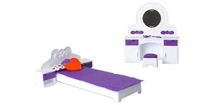 Огонек Спальня КонфеттиСпальня КонфеттиОгонек Спальня Конфетти идеально подойдет куколкам и позволит сделать сюжетно-ролевые игры более интересными и насыщенными.  Особенности: В наборе есть кровать и трюмо, они сделаны очень реалистично.  Весь набор выполнен в стильных сиреневых и белых тонах, словно это настоящая спальня.  Туда можно поместить куклу ростом около 30 см и весело развлекаться.  Все ящички открываются, поэтому их можно использовать в качестве специальных хранилищ для бижутерии.  Спальня подходит куклам высотой около 30 см.<br>