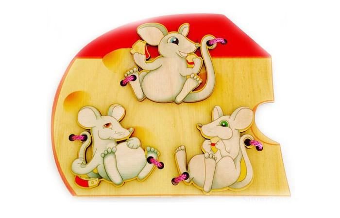 Деревянная игрушка Бэмби шнуровка Мышки