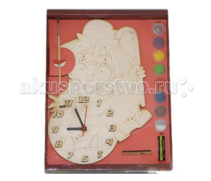 Бэмби Часы под роспись КлоунЧасы под роспись КлоунЧасы под роспись Клоун - набор для создания функциональных механических часов. Деревянный циферблат нужно раскрасить красками из набора и установить часовой механизм.   Детские настенные часы из дерева ТМ Бемби - это наборы для создания оригинальных стильных механических часов, имеющих очертания различных животных и предметов.   Состав набора:  циферблат с часовым механизмом и стрелками акриловая краска (6 баночек по 50 мл.) кисточка клей ПВА акрилатная проникающая грунтовка подвес для часов батарейка<br>
