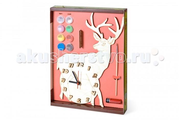 Бэмби Часы под роспись ОленьЧасы под роспись ОленьЧасы под роспись Олень - набор для создания функциональных механических часов. Деревянный циферблат нужно раскрасить красками из набора и установить часовой механизм.   Детские настенные часы из дерева ТМ Бемби - это наборы для создания оригинальных стильных механических часов, имеющих очертания различных животных и предметов.   Состав набора:  циферблат с часовым механизмом и стрелками акриловая краска (6 баночек по 50 мл.) кисточка клей ПВА акрилатная проникающая грунтовка подвес для часов батарейка<br>