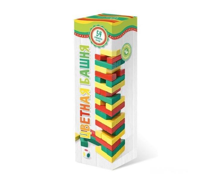 Бэмби Цветная башня с кубикомЦветная башня с кубикомЦветная башня с кубиком - деревянный конструктор из элементов трех основных цветов: красного, зеленого и желтого.   В набор также входит игральный кубик тех же цветов.   Состав набора: 54 деревянных элемента игральный кубик<br>