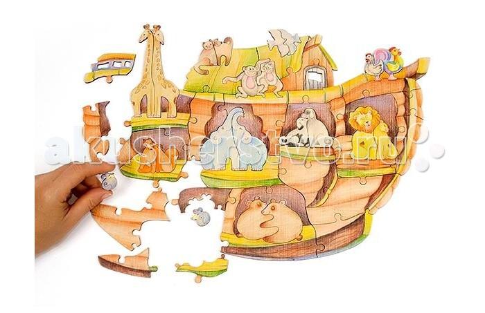 Деревянная игрушка Woody Набор Ноев Ковчег - WoodyНабор Ноев КовчегНабор Ноев ковчег - развивающая деревянная игрушка. Детали пазла имеют разные размеры и контуры, что повышает уровень сложности и делает сборку еще более интересной. Готовый пазл можно разукрасить красками, карандашами или фломастерами.   Сборка пазла развивает мелкую моторику рук, усидчивость и внимание.  Состав набора: деревянные элементы 50 шт.  Деревянные игрушки «Вуди» дарят живую энергию натуральных материалов, доброту и улыбки сказочных персонажей, радость познания и удивительные открытия.   В игрушках «Вуди» заложена богатая методическая база для развития детей разного возраста. Каждая игрушка несёт в себе несколько развивающих функций. Любой персонаж, домик, буква или цифра - это оригинальная деревянная раскраска. Игрушки «Вуди» изготавливаются в Беларуси из высокосортной древесины без применения лакокрасочных покрытий, имеют сертификаты качества Беларуси, России, Украины, ЕС.<br>