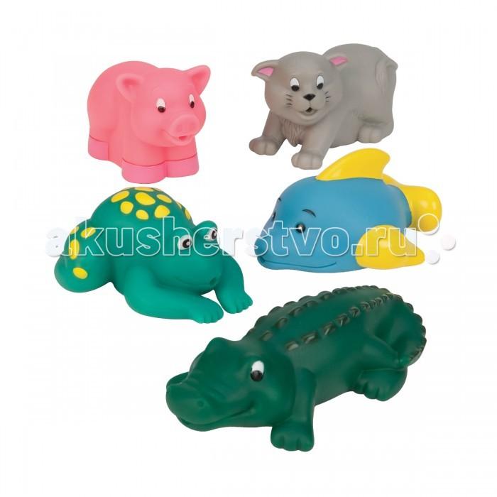 Battat Игрушки для ванны Водные животныеИгрушки для ванны Водные животныеBattat B.Dot Игрушки для ванны Водные животные.  Набор игрушек для ванны Водные животные - это компания забавных обитателей морей и океанов, которые сделают процесс купания более веселым и увлекательным. Яркие, красочные игрушки, выполненные из высококачественной резины, абсолютно безопасны. Даже если ваш юный исследователь решит попробовать их на зубок, ничего страшного не произойдет.   Играя с игрушками из набора, ваш малыш знакомится с обитателями морских глубин, а именно китом, черепашкой, пеликаном, крокодилом, осьминогом и дельфином. Оказавшись в родной водной стихии, каждое из животных чувствует себя максимально комфортно. Любопытная деталь: все водные животные из набора не только прекрасно плавают, но и выступают в качестве отличных брызгалок.<br>