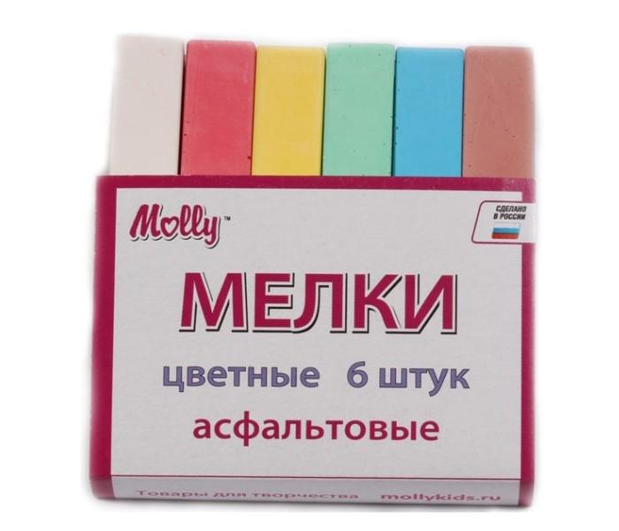Мелки Molly для рисования цветные асфальтовые 6 штдля рисования цветные асфальтовые 6 штМел для рисования асфальтовый цветной, в картонной коробке - набор для рисования, подходящий для рисования на бордюрах, асфальте, школьной или маркерной доске.   Не крошится и не ломается.   Изготовлен из сульфата кальция.   Не царапает поверхности, легко стирается.   Не пачкает руки и одежду.   Состав набора: мел цветной 6 штук<br>