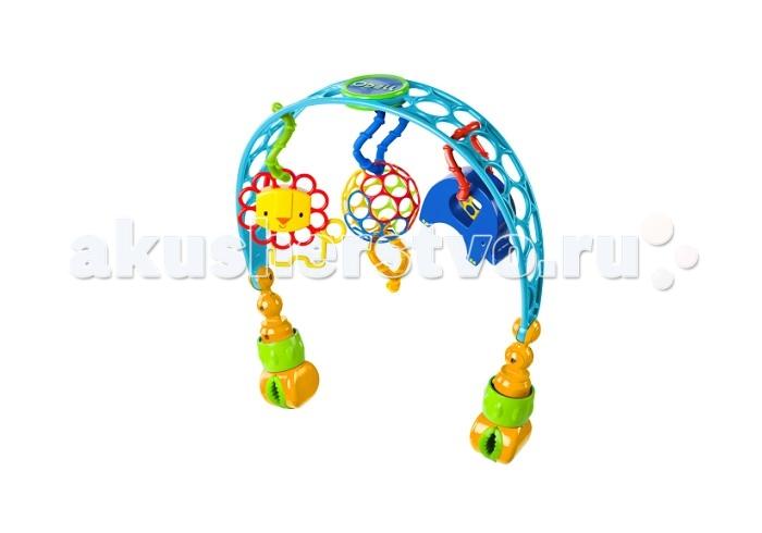 Oball Дуга на коляскуДуга на коляскуЯркая дуга Oball с игрушками будут радовать вашего малыша во время прогулки!   Дуга сделана из гибкого пластика.   3 развивающие игрушки:  мячик Oball лев-погремушка забавный слон  Игрушки легко отсоединяются от дуги, их удобно держать маленькими ручками.  Дуга легко крепится к переноске или коляске.   Регулируемый угол наклона дуги, чтобы малышу было удобно хватать игрушки.  Гибкий гладкий пластик игрушки безопасен для ребенка, а яркая окраска надолго привлечет внимание малыша.<br>