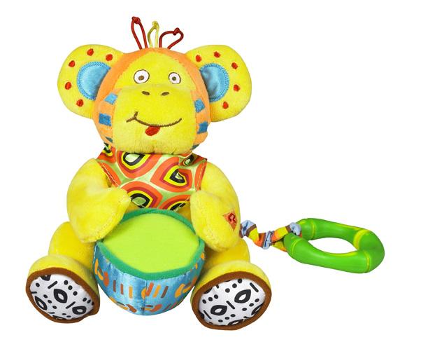Подвесная игрушка Babymoov музыкальная Обезьянамузыкальная ОбезьянаС помощью разъема в кольце может крепиться на кровать, коляску и т.д.  Функция вибрации: ребенок тянет за игрушку и она начинает оживать  Батарейка входит в комплект  Материал - полиэстр  Размер - 200х240х150 мм<br>
