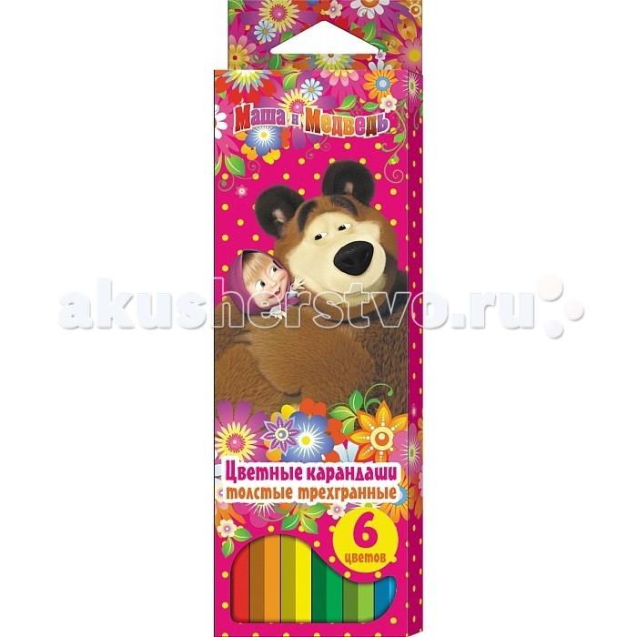 Маша и Медведь Цветные толстые трехгранные 6 цветов
