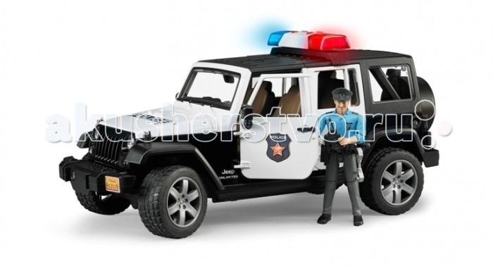 Bruder Внедорожник Jeep Wrangler Unlimited Rubicon Полиция с фигуркойВнедорожник Jeep Wrangler Unlimited Rubicon Полиция с фигуркойВнедорожник Jeep Wrangler Unlimited Rubicon «Полиция с фигуркой» – первоклассный подарок для детей от 3 до 7 лет. Эта копия настоящего джипа, выполненная в масштабе 1:16, порадует всех юных коллекционеров прототипов машин. Приятной особенностью этого набора является наличие фигурки полицейского, которая идеально помещается в джип. Фигурка сделает игру ребенка реалистичнее и интереснее.  Описание джипа: съёмная крыша, свободно открывающиеся капот (фиксируется на рычаге), 4 открывающиеся съёмные двери, съёмное заднее сидение, фаркоп, запасное колесо, амортизаторы ходовых осей, управление передними колёсами с помощью руля. На днище машинки закреплён дополнительный руль-рычаг, который позволяет управлять игрушкой, не держась за неё: просто установите его в специальный разъём через крышу джипа. На крыше расположена сирена (работает в 4 звуковых и 1 световом режимах), которую вы так же можете легко снять.  Описание фигурки: Подвижные руки и ноги, пазы на руках могут удерживать руль машинки и аксессуары (в наборе). Дополнительные аксессуары расположены на поясе фигурки полицейского и свободно снимаются: фонарь, рация, дубинка, наручники, кобура и пистолет.  Внедорожник Jeep Wrangler Unlimited Rubicon «Полиция с фигуркой» приведет в восторг и мальчишек, и девочек. Удивите своего ребенка, вручите ему игрушку Bruder.  Игрушки Bruder – произведенные в Германии копии реальных автомобилей и специальной техники. Каждая машинка, прицеп, трактор, квадроцикл или погрузчик сделаны из высококачественной пластмассы ABS, все детали совершенно не отличаются от настоящих, качество и безопасность игрушек тщательно тестируются. Продукция сертифицирована, экологически безопасна для ребенка, использованные красители не токсичны и гипоаллергенны.<br>