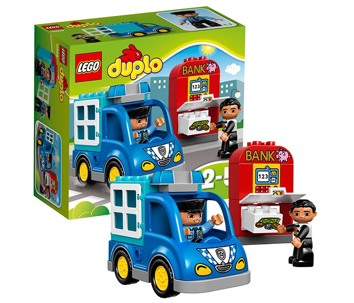 Конструктор Lego Duplo 10809 Лего Дупло Полицейский патрульDuplo 10809 Лего Дупло Полицейский патрульКонструктор Lego Duplo 10809 Лего Дупло Полицейский патруль  Для патрулирования улиц города полицейский решил воспользоваться своим быстрым и маневренным автомобилем. Его корпус выполнен из сине-голубых деталей. Спереди располагается просторная кабина водителя. Перед ней видна мощная решётка радиатора, противотуманные фары и эмблема полицейского участка. На крыше установлены спец сигналы, заметные издалека.   Непробиваемый кузов, предназначенный для перевозки нарушителей закона, имеет кубическую форму. В нём есть только один вход, который можно закрыть надёжными решётками. Именно здесь придётся посидеть воришке, который взломал городской банкомат и надеялся скрыться с украденными деньгами.  В наборе Лего 10809 Вы найдёте 2 фигурки: полицейский и воришка, а также обучающие кубики с изображением логотипа банка, клавиатуры банкомата и денег.  Размер полицейского фургона в собранном виде составляет 11х15х7 см, размер банкомата – 11х6х3 см.  Количество деталей: 15 шт.<br>