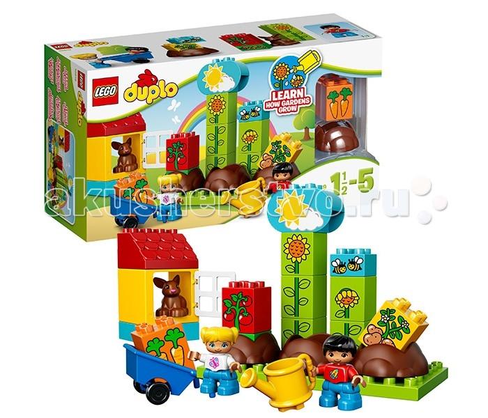 Конструктор Lego Duplo 10819 Лего Дупло Мой первый садDuplo 10819 Лего Дупло Мой первый садКонструктор Lego Duplo 10819 Лего Дупло Мой первый сад  Мальчик и девочка из набора Лего 10819 решили помочь своим родителям в саду. Для этого они выбрали 3 самых больших грядки и взяли их под свою опеку. Каждый день юные огородники поливали саженцы и пропалывали сорняки. Следили за ростом побегов и удаляли с них вредителей.   Больше всех переживал маленький крольчонок, который с нетерпением ждал созревания морковки. Благодаря ответственному отношению и слаженной работе, вскоре ребята смогли собрать богатый урожай. Его аккуратно погрузили в тележку и отвезли в дом.  В наборе Вы найдёте 2 фигурки: мальчик и девочка; 3 обучающих кубика с овощами: картофель, помидоры и морковь; 3 кубика для ухода за саженцами: солнышко/дождик, гусеница и пчёлки; 5 кубиков для демонстрации роста подсолнуха, а также фигурка крольчонка, жёлтая лейка, синяя тележка и элементы для создания домика с открывающимся окошком.  Количество деталей: 25 шт.<br>