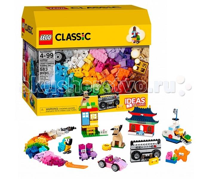 Конструктор Lego Classic 10702 Лего Классик Набор кубиков для свободного конструированияClassic 10702 Лего Классик Набор кубиков для свободного конструированияКонструктор Lego Classic 10702 Лего Классик Набор кубиков для свободного конструирования   Набор Лего 10702 поможет Вам простроить множество моделей из окружающего нас мира. Благодаря широкому выбору элементов, входящих в комплект, Вы сможете совершенствовать свои навыки в области конструирования.   Подробная пошаговая инструкция, включающая 3 уровня сложности, содержит 9 красочных моделей. Среди них есть как интересные архитектурные решения, такие как загородный дом или китайский храм, так и копии предметов из нашей повседневной жизни: корабль, машина, роликовые коньки и магнитофон.   Особый интерес вызывают детали с глазками. Они позволяют создавать реалистичных животных или фантазийных персонажей.  В наборе присутствуют 583 детали 41 оттенка. Условно их можно разделить на классические кирпичики и специальные элементы - двери, окна, колёса и глаза. Упаковка набора представляет собой вместительную коробку для хранения.  Количество деталей: 583 шт.<br>
