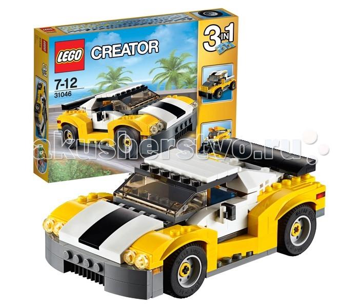 Конструктор Lego Creator 31046 Лего Криэйтор КабриолетCreator 31046 Лего Криэйтор КабриолетКонструктор Lego Creator 31046 Лего Криэйтор Кабриолет  Отличный конструктор Лего из серии Криэйтор, представляющий из себя набор «3 в 1». Из 222 деталей Вы можете собрать потрясающий гоночный автомобиль с открывающимся верхом, затем перестроить его в мощный грузовой пикап или погрузчик. Дизайн транспорта выполнен в ярких контрастных цветах – желтом, белом и черном.  Основная модель – скоростной гоночный ламборджини – путем двух простых шагов трансформируется в стильный кабриолет. Двери авто, как и положено, открываются вверх, также у автомобиля открывается капот. Под крышкой капота Вы обнаружите вполне детализированный двигатель.  Альтернативная модель пикап имеет откидной борт в задней части кузова автомобиля, вместительную кабину водителя, в которой легко размещается минифигурка (фигурки в комплект набора не входят). Третья модель, мини-погрузчик с функциональным бортовым поворотом и большой кабиной, в которую можно поместить минифигурку, придется по вкусу всем любителям строительной техники.  Размер автомобиля в собранном виде составляет 5х15х8 см.  Количество деталей: 222 шт.<br>