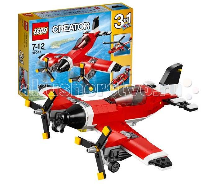 Конструктор Lego Creator 31047 Лего Криэйтор Путешествие по воздухуCreator 31047 Лего Криэйтор Путешествие по воздухуКонструктор Lego Creator 31047 Лего Криэйтор Путешествие по воздуху  Замечательный, хотя и достаточно большой набор Лего из серии Криэйтор, который придется по вкусу любителям традиционного конструирования. Из 230 деталей, входящих в комплект набора, Вы можете собрать три различных модели – легкомоторный самолёт, вертолет и гидроплан (единовременно можно собрать только одну модель).  Дизайн этих летательных аппаратов выполнен в красном, белом и черном цветах. Вместительная кабина пилота тщательно детализирована. Модель имеет прозрачные пластиковые детали, имитирующие стекло. Игрушка выполнена очень реалистично, несмотря на относительно небольшое количество деталей.   Совершите увлекательное путешествие на винтовом самолёте из набора Лего 31047. Его ярко-красный корпус выполнен с добавлением контрастных чёрно-белых элементов. Носовая часть имеет обтекаемую форму, улучшающую маневренность. Боковые крылья выглядят очень длинными и прочными. На них закреплены мощные двигатели, соединённые с вращающимися трёхлопастными винтами. Под крыльями установлены две симметричные опоры с колёсами, выполняющими функцию шасси. Третье колесо располагается под хвостовой частью фюзеляжа. Кабина пилота сделана очень реалистично. Она окружена тонированным ветровым стеклом, подняв которое, можно заглянуть внутрь и рассмотреть интерьер. Также в модели самолёта присутствует множество оригинальных деталей, таких как навигационные огни, воздухозаборники и видимые части двигателей.  Размер самолёта в собранном виде составляет 11х19х25 см.   Количество деталей: 230 шт.<br>