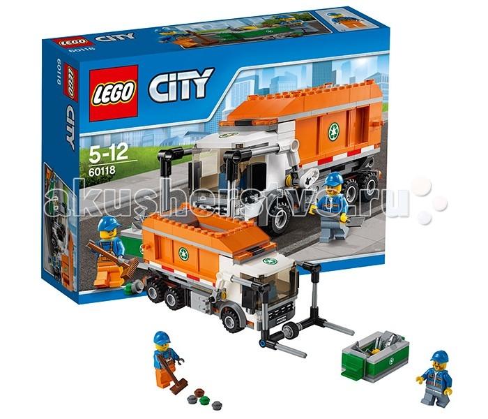 Конструктор Lego City 60118 Лего Город МусоровозCity 60118 Лего Город МусоровозКонструктор Lego City 60118 Лего Город Мусоровоз   Чтобы навести порядок на городских улицах, Вам понадобится бригада рабочих и мощный мусоровоз из набора Лего 60118. Его ходовая часть представлена усиленной подвеской и тремя парами колёс. Массивная кабина, выполненная из деталей белого цвета, имеет множество реалистичных элементов, таких как сигнальные огни, большое лобовое стекло, боковые зеркала, радиаторная решётка, фары и автомобильный номер. Съёмная крыша позволяет заглянуть в салон и изучить его интерьер.   За кабиной предусмотрены крепления для подъёмника, напоминающего вилы. Его главной задачей является фиксация мусорных контейнеров и высыпание их содержимого прямо в оранжевый кузов грузовика. Если во время опрокидывания контейнера что-то упало мимо, то рабочие подметут асфальт, используя метлу и совковую лопату.   Вместимость кузова мусоровоза достаточно велика, что позволяет объехать сразу несколько кварталов. Когда уборка завершена, бригада отправляется к мусоросжигательному заводу. Здесь грузовик останавливается и медленно поднимает свой кузов. Через откидывающиеся задние стенки мусор высыпается наружу и ждёт дальнейшей переработки.  Размер мусоровоза с опущенным подъёмником составляет 8х20х7 см.  В наборе присутствуют 2 минифигурки рабочих с разнообразными аксессуарами.   Количество деталей: 248 шт.<br>