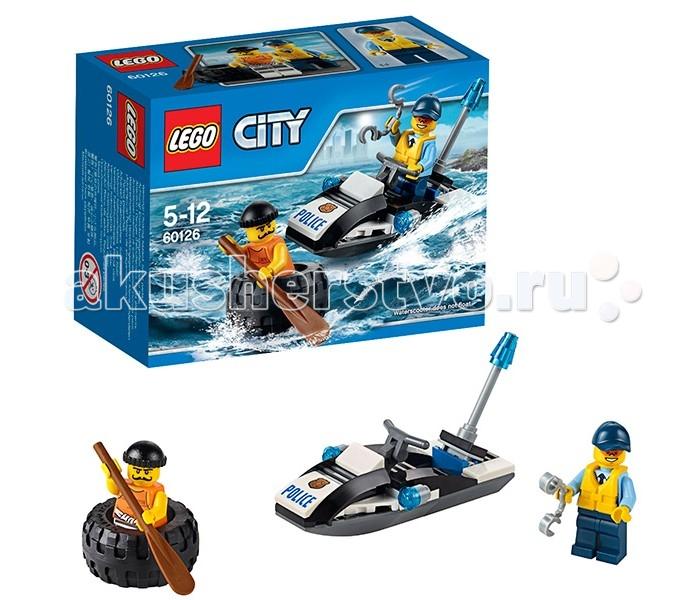 Конструктор Lego City 60126 Лего Город Побег в шинеCity 60126 Лего Город Побег в шинеКонструктор Lego City 60126 Лего Город Побег в шине   Проворный воришка из набора Лего 60126 смог сбежать из тюрьмы, расположенной на острове. Теперь его главной задачей является переплыть морской пролив и добраться до своего тайного логова.   Для этого он решил соорудить оригинальный лот, состоящий из резиновой шины от грузовика и деревянного весла. Но его планам не суждено сбыться! Воды вокруг острова находятся под постоянным контролем полицейских скутеров. Очень скоро один из них заметил воришку, догнал его и, надев наручники, вернул обратно в тюрьму.  В наборе Вы найдёте детали для создания полицейского скутера. Его корпус выполнен из чёрно-белых элементов с добавлением наклеек на капоте. В центре устроено место водителя и рулевое управление. По бокам и на хвосте скутера видны яркие сигнальные огни. Размер скутера в собранном виде составляет 5х9х3 см.  Также в наборе присутствуют 2 минифигурки с аксессуарами: полицейский с наручниками и воришка с веслом.  Количество деталей: 47 шт.<br>