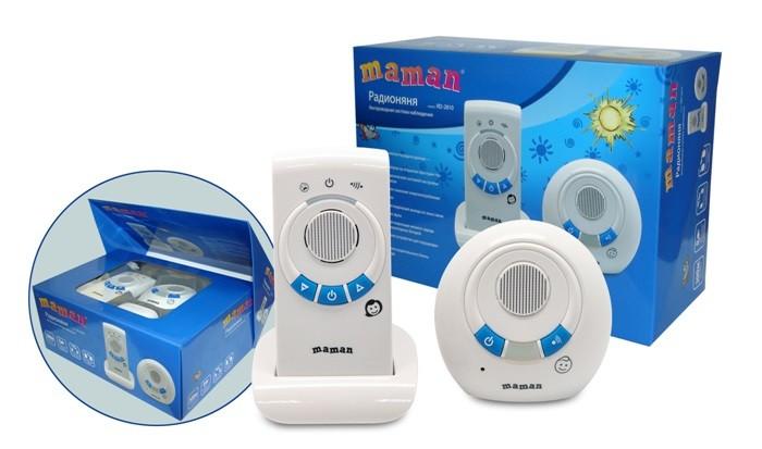 Maman Радионяня RD-2810Радионяня RD-2810Maman Радионяня RD-2810 - это беспроводная система аудио наблюдения за ребенком с дальностью до 300 метров.  Особенности: Качественный звук без помех Питание как от электрической сети, так и от аккумуляторных батарей (входят в комплект) Световая и звуковая индикация: выхода из зоны связи, низкого заряда батареи Регулировка уровня звука Возможность работы родительского блока как в стационарном (от сети), так и в переносном режимах Детский блок работает в стационарном режиме (от сети) Возможность подзарядки аккумуляторных батарей с помощью встроенного зарядного устройства родительского блока Поиск родительского блока Зажим для крепления родительского блока на поясе или одежде  В комплекте:  Передатчик (Детский блок),  Приемник (Родительский блок),  Сетевой адаптер для Передатчика,  Подставка с сетевым адаптером для Приемника, Аккумуляторные батареи<br>