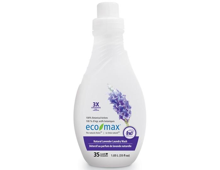 Eco-Max Экстраконцентрированное средство для стирки Лаванда 1.05 лЭкстраконцентрированное средство для стирки Лаванда 1.05 лEco-Max Экстра-концентрированное жидкое средство для стирки - Лаванда 3X Conc. Natural Lavender Laundry Wash  Полностью натуральное концентрированное средство для стирки с успокаивающим ароматом лаванды. Благодаря низкому пенообразованию и отсутствию осадка безопасно для использования в стиральной машине.  Используется для высокоэффективных и стандартных стирок. Смотрите внутри крышки линии для измерения.  Одна бутылка этого концентрированного средства рассчитана на 35 стандартных загрузок.  Способ применения: Для нормальной загрузки заполнить колпачок средством до линии 2. Для больших загрузок использовать колпачок полностью. Для удаления пятен вылить средство непосредственно на ткань, осторожно потереть, замочить, а затем стирать в машине. Хранить в недоступном для детей месте.  Состав: Вода, растительные алкилполигликозиды, натуральное эфирное масло лаванды, пищевая лимонная кислота и пищевой натрия цитрат, пищевой загуститель на основе целлюлозы, пищевой калия сорбат.<br>
