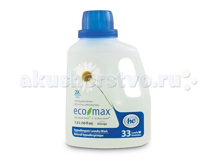 Eco-Max Концентрированное гипоаллергенное средство для стирки 1.5 лКонцентрированное гипоаллергенное средство для стирки 1.5 лEco-Max Концентрированное гипоаллергенное средство для стирки 2X Conc. Hypoallergenic Laundry Wash  Концентрированное гипоаллергенное натуральное жидкое средство для стирки. Специально разработано без использования сенсибилизаторов и безопасно для людей, чувствительных к различным запахам. Прекрасно подходит для стирки детской одежды.   В этом средстве используются активные чистящие вещества ингредиентов, полученных из биоразлагаемых и возобновляемых растительных источников.  Благодаря низкому пенообразованию и отсутствию осадка безопасно для использования в стиральной машине.   Одна бутылка этого концентрированного средства рассчитана на 35 стандартных загрузок.  Способ применения: Подходит для всех типов тканей для использования в высокоэффективных и стандартных машинах. Следуйте инструкции на этикетке изделия. Для нормальной загрузки заполнить колпачок средством до линии 2. Для больших загрузок использовать колпачок полностью. Для удаления пятен вылить средство непосредственно на ткань, осторожно потереть, замочить, а затем стирать в машине.  Хранить в недоступном для детей месте.  Состав: вода, растительные алкилполигликозиды (из кокосового масла и кукурузного сиропа), пищевая лимонная кислота, пищевой цитрат натрия, пищевой загуститель на основе целлюлозы и пищевой сорбат калия в качестве консерванта.<br>