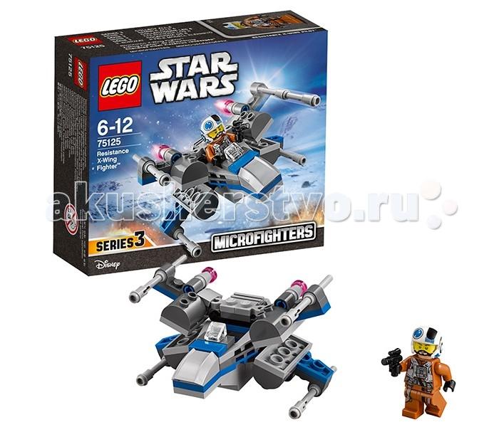 Конструктор Lego Star Wars 75125 Лего Звездные Войны Истребитель ПовстанцевStar Wars 75125 Лего Звездные Войны Истребитель ПовстанцевКонструктор Lego Star Wars 75125 Лего Звездные Войны Истребитель Повстанцев    Истребитель T-70 Х-wing широко использовался военными силами Сопротивления. Как и предыдущие модели крестокрылов он обладает оригинальной формой, состоящей из сдвоенных подвижных крыльев, меняющих своё положение во время взлёта и посадки. В передней части серого корпуса располагается кабина пилота, прикрытая непробиваемым лобовым стеклом. За ней установлена топливная система и совокупность датчиков для прокладывания курса.   Вооружение боевого истребителя представлено четырьмя мощными лазерными пушками, закреплёнными на концах крыльев. Там же находятся четыре мощных двигателя, позволяющих развивать сверхзвуковую скорость. Отличительной особенностью истребителя из набора Лего 75125 является наличие синих полос на фюзеляже. Это говорит о том, что данный летательный аппарат принадлежит Синей эскадрилье Сопротивления.  Размер истребителя в собранном виде составляет 5х8х9 см.  В наборе присутствуют детали для создания обновлённого истребителя T-70 Х-wing, а также минифигука пилота в униформе.  Количество деталей: 87 шт.<br>