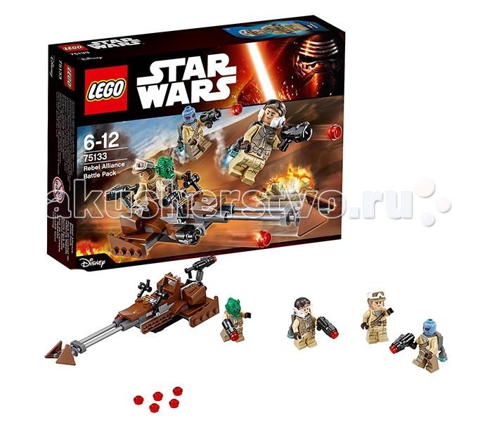Конструктор Lego Star Wars 75133 Лего Звездные Войны Боевой набор ПовстанцевStar Wars 75133 Лего Звездные Войны Боевой набор ПовстанцевКонструктор Lego Star Wars 75133 Лего Звездные Войны Боевой набор Повстанцев   Альянс повстанцев смело бросается в бой против военных сил Галактической Империи. Для этого отважные герои используют не только свои бластеры, но и мощные реактивные ранцы, позволяющие взлетать в небо и вести огонь по вражеским позициям. Кроме того, отличной поддержкой пехоты служит скоростной спидер.   Его корпус выполнен из коричнево-серых элементов, незаметных на фоне песчаных ландшафтов планеты. Спереди установлены две стабилизаторные штанги, оканчивающиеся подвижными треугольными лопастями. Повинуясь рычагам управления, они способны менять своё положение и выполнять функцию руля. Центральную часть конструкции занимает место пилота, оборудованное двумя контроллерами и приборной панелью.   За креслом пилота, спина к спине, устроена платформа для стрелка. Его главной задачей является защита тыловой части спидера от имперских преследователей. В этом ему помогает мощная бластерная пушка с подвижной опорой. Также во время боя можно задействовать дополнительное навесное орудие, расположенное справа от пилота.  В наборе Лего 75133 Вы найдёте детали для создания скоростного спидера повстанцев, а также 4 минифигурки с оружием, реактивными ранцами и бронёй.  Размер спидера в собранном виде составляет 4х16х6 см.  Количество деталей: 101 шт.<br>