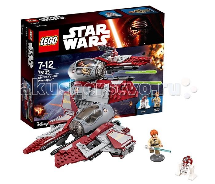 Конструктор Lego Star Wars 75135 Лего Звездные Войны Перехватчик джедаев Оби-Вана КенобиStar Wars 75135 Лего Звездные Войны Перехватчик джедаев Оби-Вана КенобиКонструктор Lego Star Wars 75135 Лего Звездные Войны Перехватчик джедаев Оби-Вана Кеноби   Перехватчик джедаев представляет собой лёгкий истребитель, способный выполнять множество разведывательных миссий по всей Галактике. Его корпус выкрашен в бордово-серый цвет, что соответствует знакам отличия дипломатов и высокопоставленных лиц. Центральное место в конструкции отведено кабине пилота, прикрытой обтекаемым ветровым стеклом с максимальным обзором.   Подняв его можно заглянуть внутрь и рассмотреть интерьер. Здесь есть удобное кресло, приборная панель и рычаги управления. По обе стороны от кабины располагаются симметричные крылья, оборудованные подвижными закрылками. Во время взлёта и посадки они складываются, обхватывая выносные опоры, а во время полёта раскрываются, принимая дугообразную форму.   Левое крыло имеет отличительную особенность. В его плоскости устроена небольшая ниша для дроида-астромеханика R4-P17. Его главной задачей является прокладывание курса и наладка всех систем корабля. Также он активно участвует в сражениях, отвечая за систему наведения лазерных орудий и пусковых ракет.  Размер истребителя Оби-Вана Кеноби составляет 6х17х17 см.  Также в наборе Лего 75135 Вы найдёте 2 минифигурки: дроид R4-P17 и Оби-Ван Кеноби со световым мечом.  Количество деталей: 215 шт.<br>