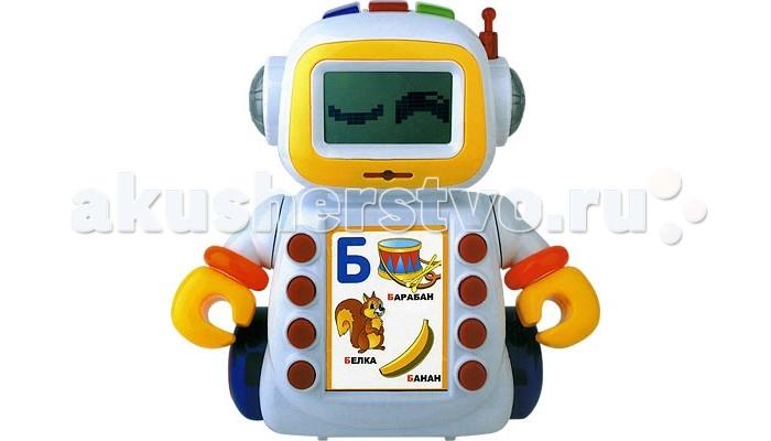 Zhorya Умный Я Обучающий РоботУмный Я Обучающий РоботZhorya Умный Я Обучающий Робот обязательно понравится вашему малышу и займет его внимание надолго.  Особенности: Играючи планшет научит тебя: русским и английским буквам; цветам; фигурам; овощам и фруктам; правилам дорожного движения.  Есть функция часы и возможность устанавливать будильник.  Вместе с планшетом можно петь песенки и учить веселые стишки.  Есть специальный рюкзачок, куда можно положить обучающие карточки.  Всего 60 карточек:   - 33 обучающих карточек Русский алфавит;   - 7 обучающих карточек Английский алфавит;   - 2 обучающие карточки Фрукты и овощи;   - 1 обучающая карточка Формы;   - 2 обучающие карточки Цвета;   - 1 обучающая карточка Правила дорожного движения;   - 1 обучающая карточка Кто, где живет?;   - 1 обучающая карточка Чьи предметы?;   - 2 карточки – сказка: Курочка Ряба и Репка;   - 1 обучающая карточка Транспорт;   - 3 обучающие карточки Цифры;   - 1 обучающая карточка: Часы – будильник;   - 2 карточки – игры: Змейка и Машинка;   - 1 обучающая карточка Кто что даёт?;   - 2 обучающие карточки Сравнение;  Вставьте карточку в специальное углубление - и приключение начнется! Робот Шунтик обучает, веселит, говорит и поет.  Робот с подсветкой с интересными заданиями для вашего ребенка.<br>
