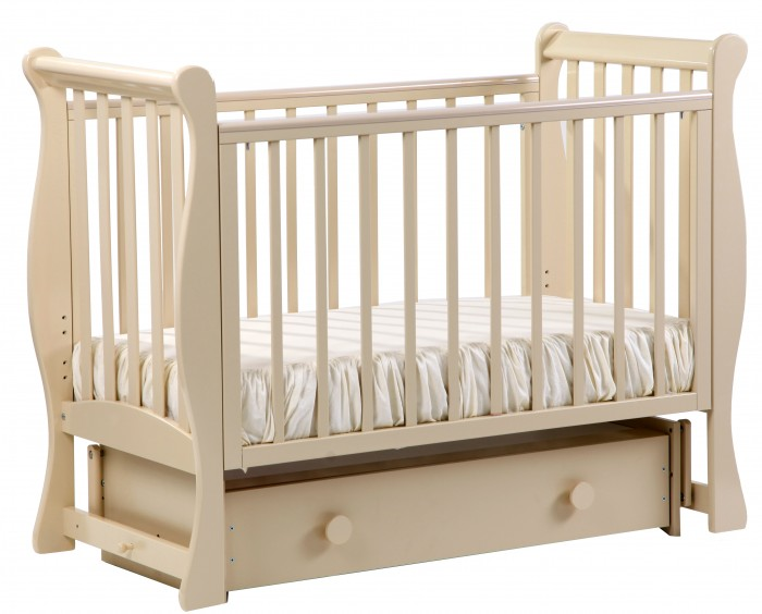 Детская кроватка Кубаньлесстрой АБ 21.2 Лаванда маятник поперечный с ящиком