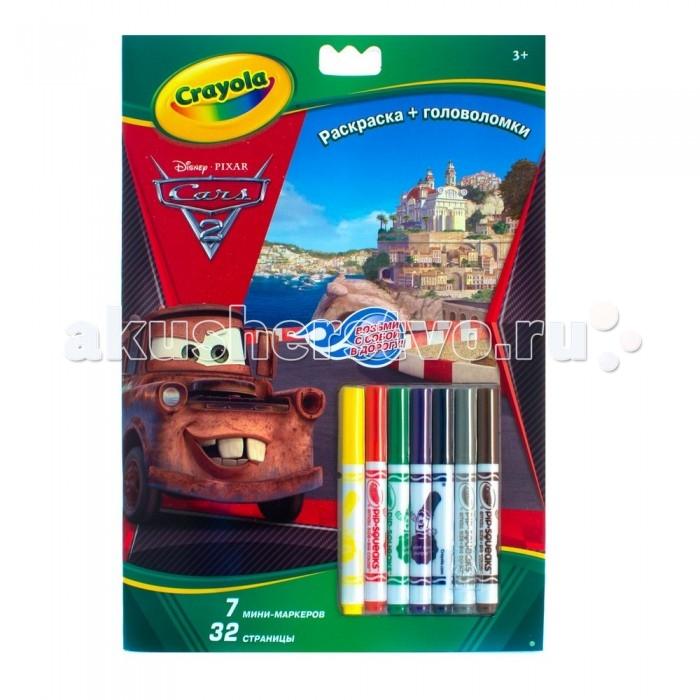 Раскраска Crayola с головоломками Тачкис головоломками ТачкиНабор Раскраска + головоломка Снова в школу с Disney Тачки – это целых 32 страницы с любимыми персонажами. В компактной книжке-раскраске представлены не только черно-белые эскизы, раскрасить которые мальчик сможет сам, но еще и интересные задания на логику и сообразительность.  В комплекте с набором вы найдете 7 разноцветных смываемых мини-фломастеров Crayola: желтый, красный, зеленый, фиолетовый, синий, черный, серый и коричневый.   Если вам понадобится больше цветов, используйте любые смываемые фломастеры Crayola для раскрашивания.  Раскраска рекомендована для мальчиков от 3 лет.<br>
