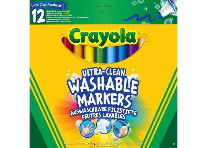 Фломастеры Crayola смываемые Супер чисто 12 шт.смываемые Супер чисто 12 шт.Дети так любят рисовать! Поэтому набор фломастеров обязательно понравится юным художникам. 12 цветов позволят широко развернуться в творческом полете, ведь чем больше ярких красок, тем красивее будет готовая картинка!  Это необыкновенные фломастеры. Их главное достоинство и особенность в том, что они легко смываются с «холста» с помощью воды. Поэтому если вдруг ребенок захочет разукрасить стену или обои, не ругайтесь на маленькое дарование.  Фломастеры сделаны из материалов, прошедших строгий контроль качества, поэтому они безопасны для будущего Пикассо. Насыщенные, роскошные цвета восхитят малыша, а мягкая линия нанесения позволит рисовать без проблем.  Создавая живописные шедевры, малыш будет и наслаждаться своим хобби, и развиваться. Ведь рисование тренирует мелкую моторику, воображение, фантазию, а также творческие навыки.  Cryola созданы для настоящих творцов!<br>