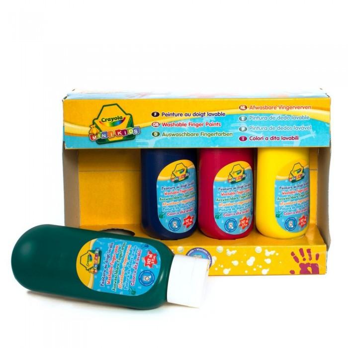 Crayola Смываемые краски для рисования пальцами 4 шт.Смываемые краски для рисования пальцами 4 шт.Смываемые пальчиковые краски с кремообразной текстурой в бутылочках с дозаторами Crayola разработаны специально для детей от 2 лет. Состав безопасен для нежной детской кожи, не вызывает раздражения.  Эти краски смываемые. Даже если юный художник нарисовал не только на бумаге, но и на собственном лице, руках, одежде или мебели, просто смойте краску водой.  Благодаря кремообразной текстуре краски и специальной форме бутылочек вы сможете избежать проливания краски, даже если малыш будет делать все самостоятельно. Одним нажатием из бутылочки выливается одна порция краски.  Краски хорошо ложатся на бумагу и не просачиваются сквозь лист.  В упаковке – 4 бутылочки с краской базовых цветов: красный, желтый, синий, зеленый.   Объем каждой бутылочки: 147 мл.<br>