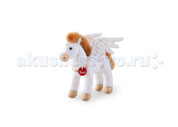Мягкая игрушка Trudi Пегас 30 смПегас 30 смМягкая игрушка Trudi Пегас 30 см. Крылатый Пегас – любимец греческих муз, конь, летающий со скоростью ветра и ударом копыта выбивающий из земли источники.   Родившийся от смертоносного чудовища на краю света и вознесшийся на сверкающие вершины Олимпа, Пегас является символом связи всего живого. Кроме того, легендарный конь – символ лёгкости поэтического вдохновения.   Такая игрушка очень пригодится творческим личностям, но не только поэтам, а и, например, рукодельницам. Ведь им приходится тоже придумывать и наделять образы своих кукол романтикой и лирикой.<br>