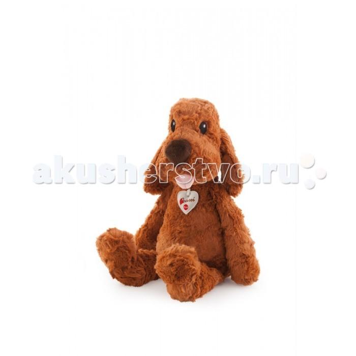 Мягкая игрушка Trudi Коричневая мягкая собака 45 смКоричневая мягкая собака 45 смМягкая игрушка Trudi Коричневая мягкая собака 45 см. Если вам не хватает общения и настоящего друга, с которым можно играть, бегать, прыгать, гулять и о котором нужно заботиться, то эта игрушка именно для вас! Шоколадно-коричневая уютная собака с длинными ушами  готова разделить с хозяином все свои тайны и проводить вместе время. Плюшевая игрушка способна порадовать как малыша, так и взрослого, потому что ее так приятно тискать!   Собачка сделана из качественного материала, не выгорающего на солнце и легко стирающегося. Просто установите деликатный режим стирки — игрушка не деформируется и будет выглядеть как новая!  На шее плюшевой собаки вы увидите кулон, который подтверждает знак качества. Придумайте своему другу необычное имя и учитесь ухаживать за домашними животными. Кто знает, вдруг в следующий раз родители подарят настоящий горячий комочек счастья с шершавым языком?  Игрушка научит малыша ответственности, внимательности и подарит настоящее счастье! Специальная набивка развивает мелкую моторику малышей.   Размер: 45 см<br>
