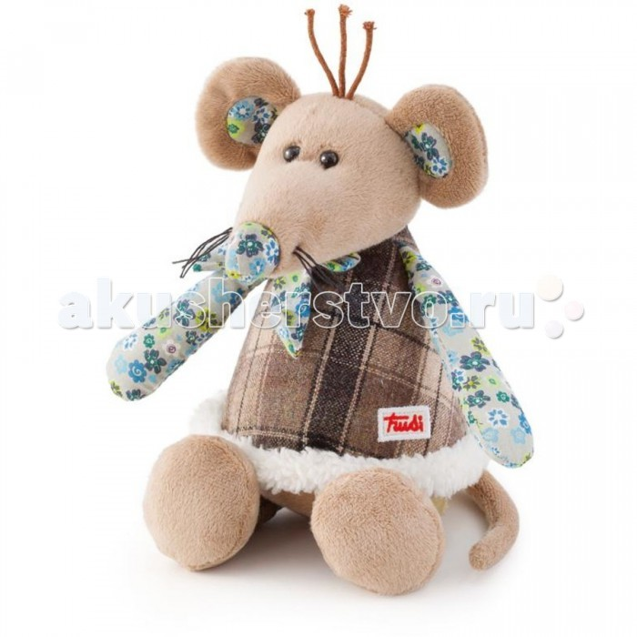 Мягкая игрушка Trudi Мышка в стиле прованс 25 смМышка в стиле прованс 25 смМягкая игрушка Trudi Мышка в стиле прованс 25 см. Сделать оригинальный подарок ребенку, подруге или любимой женщине поможет итальянский бренд Trudi. Если Вам наскучили плюшевые мишки и зайчики, и Вы ищете что-то новенькое, то советуем присмотреться к мышке в стиле прованс. Сделанная из мягкого плюша и синтепона, она очень приятна на ощупь. Маленьким деткам она поможет развить тактильное восприятие и моторику рук.  Размер игрушки позволит и украсить ей комнату, и взять с собой в постель, и сделать участником игрового процесса.  Переживать за внешний вид игрушки нет причин. Все изделия Trudi прекрасно переживают машинную стирку – сохраняют и цвет, и форму.<br>