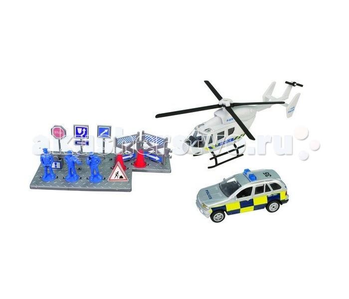Roadsterz Игровой набор Полицейская командаИгровой набор Полицейская командаИгровой набор «Спасательная команда» от британского бренда HTI представлен двумя вариациями – полицейские с вертолетом и машиной и пожарная команда со своей профессиональной техникой и атрибутами. Вы можете приобрести один из них, или пополнить коллекцию обеими.  Такой набор рекомендуется производителем для детей от 3 лет, но идеально подойдет и для взрослых коллекционеров масштабных моделей.   Высокая степень детализации и безопасность игрушек – результат качественной работы и использования экологически чистых материалов. Игрушки отвечают строжайшим европейским стандартам качества.<br>