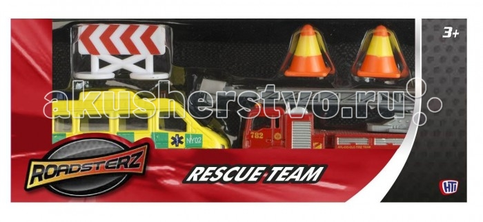 Roadsterz Спасательная командаСпасательная командаИгровой набор «Спасательная команда» от британского бренда HTI представлен своей профессиональной техникой и атрибутами.   Такой набор рекомендуется производителем для детей от 3 лет, но идеально подойдет и для взрослых коллекционеров масштабных моделей.   Высокая степень детализации и безопасность игрушек – результат качественной работы и использования экологически чистых материалов. Игрушки отвечают строжайшим европейским стандартам качества.<br>
