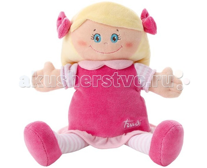 Trudi Мягкая кукла в малиновом платье 24 смМягкая кукла в малиновом платье 24 смTrudi Мягкая кукла в малиновом платье 24 см. Мягкая кукла в малиновом платье – это голубоглазая златовласая девочка, которая обязательно станет лучшей подружкой для вашей малышки.   С такой куколкой можно играть во множество увлекательных игр, которые помогут вашему ребенку раскрыть в себе разнообразные навыки и способности. Поиграйте и вы вместе с дочкой, помогите ей понять, что такое ответственность, забота, любовь и дружба.   Игрушка сделана из мягких и качественных материалов, не токсична и гипоаллергенна. Можно стирать в машинке.  Размер игрушки: 24 см<br>