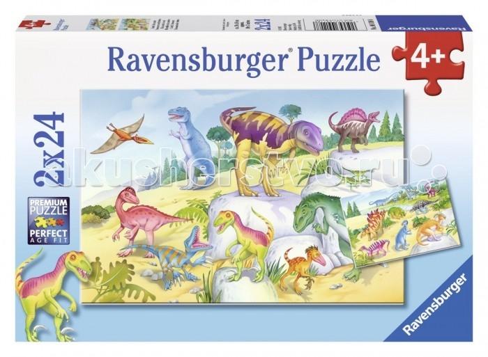 Ravensburger Пазл Красочные динозавры 2х24 элементовПазл Красочные динозавры 2х24 элементовПаззл Ravensburger: От частицы к частице – всё высшее качество  Отсутствие двух одинаковых деталей обеспечено использованием вручную изготовленного инструментария Частицы идеально соединяются Матовая поверхность исключает неприятные отблески Прочные детали не ломаются Изготовлено из экологического сырья  Количество деталей паззла: 48 Размер картинки: 18х26 см. Материал: картон и бумага, части устойчивы к сгибанию<br>