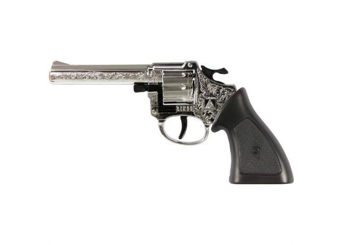 Sohni-wicke Пистолет Ringo Агент 8-зарядные Gun ХРОМ Western 198mmПистолет Ringo Агент 8-зарядные Gun ХРОМ Western 198mmИгрушечное оружие Sohni-wicke Пистолет Ringo АГЕНТ 8-зарядные Gun ХРОМ Western 198mm  Хромированный револьвер Ringo Агент — яркий и надежный спутник талантливого ковбоя. Для того чтобы стать крутым шерифом или ковбоем, нужно обязательно иметь яркий, блестящий, меткий и громкий супер-револьвер. Такой, как Ringo.  Длина пистолета: 198 мм Ёмкость магазина: 8 зарядов  Sohni-Wicke — это лучшее детское оружие от европейского производителя. Вся продукция компании выполнена из безопасных, экологичных, нетоксичных и качественных материалов. Обязательно ознакомьтесь с инструкцией и соблюдайте меры безопасности.  Пистоны необходимо приобретать отдельно.<br>