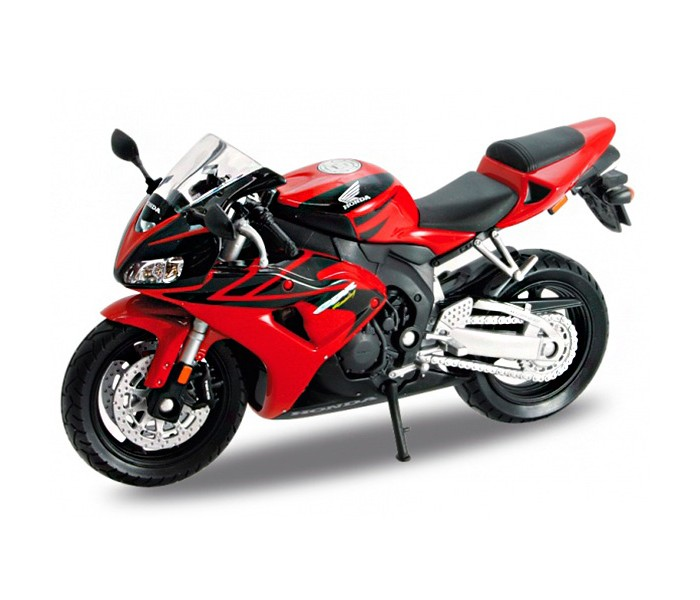 Welly Модель мотоцикла 1:18 Honda CBR1000RRМодель мотоцикла 1:18 Honda CBR1000RRWelly Модель мотоцикл Honda CBR1000RR от Welly выполнена в точном соответствии с оригиналом. Все коллекционные модели Велли очень точные, потому что создаются по лицензии автопроизводителя.  Прототип модели - мотоцикл Honda CBR1000RR, мощный спортбайк, способный развивать скорость до 257 км/ч. Редизайн модели был сделан в 2014 году - мотоцикл стал выглядеть более динамично и современно.   Модель мотоцикла Welly окрашена в самые популярные для этого мотоцикла цвета - черный с красным. Модель хорошо детализирована, оснащена подножкой для устойчивости.<br>