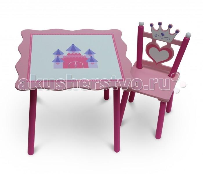 Luu-Luu Комплект из стола и стула PrincessКомплект из стола и стула PrincessLuu-Luu Комплект из стола и стула Princess - замечательный набор детской мебели для маленькой принцессы!   Особенности: Оригинальная роспись столешницы с расположенным в ее центре королевским замком, а также спинка стула в форме сердечка и короны, позволят каждой малышке почувствовать себя волшебной принцессой!  Такой комплект мебели нежной расцветки непременно украсит детскую комнату и создаст уютное место для занятий и игр ребенка.  Мебель изготовлена из безопасных и натуральных материалов  Устойчивая конструкция Устойчивые к выцветанию красители Материал: МДФ, массив сосны Высота стола – 49,5 см Размер столешницы – 59,5х 59,5 см Ввысота стула – 61,5 см Высота сидения стула - 28,5 см<br>