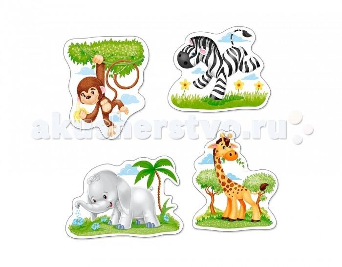 Castorland Пазлы 4 в 1 Африканские животныеПазлы 4 в 1 Африканские животныеПазлы 4 в 1 Африканские животные с крупными элементами подойдут для малышей 3 лет.   В коробке Пазлы 4 в 1 Африканские животные 4 картинки с милыми изображениями африканских животных: жирафа из 3 элементов зебры из 4 элементов обезьянки из 6 элементов слона из 9 элементов  Складывание пазлов довольно полезное занятие для всех возрастов. Оно помогает развивать логическое мышление, внимание, воображение и, конечно же, моторику рук, что очень важно для детей дошкольного возраста.  Размер собранной картинки: 16.5 x 11 см<br>