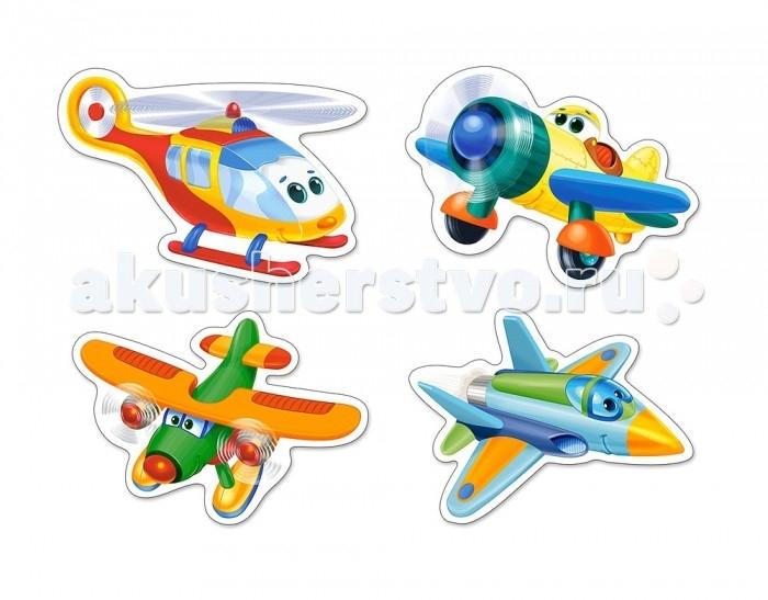 Castorland Пазлы 4 в 1 Смешные самолетыПазлы 4 в 1 Смешные самолетыПазлы 4 в 1 Смешные самолеты особенно понравятся малышам 3 лет.   В коробке Пазлы 4 в 1 Смешные самолеты 4 картинки с красочными изображениями веселых самолетов из 3, 6, 9 элементов и вертолета из 4 элементов.  Складывание пазлов довольно полезное занятие для всех возрастов. Оно помогает развивать логическое мышление, внимание, воображение и, конечно же, моторику рук, что очень важно для детей дошкольного возраста.  Размер собранной картинки: 16.5 x 11 см<br>